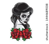 sugar skull vector with roses | Shutterstock .eps vector #1444689038