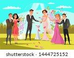 open wedding ceremony flat... | Shutterstock .eps vector #1444725152