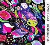 seamless bright tropical... | Shutterstock .eps vector #1444740275