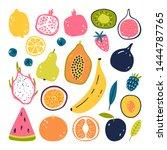 hand drawn fruits. vegetarian... | Shutterstock .eps vector #1444787765
