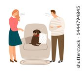 animal abuse. woman and man...   Shutterstock .eps vector #1444794845