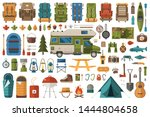 camping and hiking elements.... | Shutterstock .eps vector #1444804658