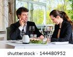 businesspeople having business... | Shutterstock . vector #144480952