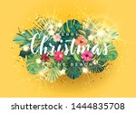tropical christmas on the beach ... | Shutterstock .eps vector #1444835708