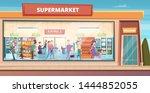 supermarket facade. people... | Shutterstock .eps vector #1444852055