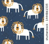 lions  hand drawn backdrop.... | Shutterstock .eps vector #1444861535