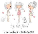 Stock vector cute girls with dogs 144486832