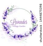 lavender watercolor wreath... | Shutterstock .eps vector #1444875398