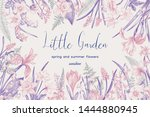 floral background with garden... | Shutterstock .eps vector #1444880945