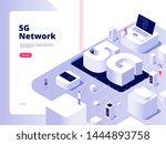 5g concept. wifi telecom 5g... | Shutterstock .eps vector #1444893758