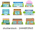 cartoon shops. barber shop ... | Shutterstock .eps vector #1444893965
