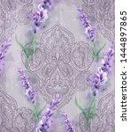 damask ornament and lavender... | Shutterstock .eps vector #1444897865