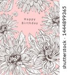 floral card with isolated hand... | Shutterstock . vector #1444899365