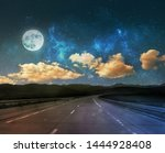 night road background with moon ... | Shutterstock . vector #1444928408
