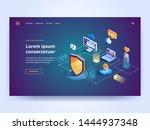 isometric security data... | Shutterstock .eps vector #1444937348