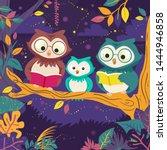 illustration of owl family... | Shutterstock .eps vector #1444946858