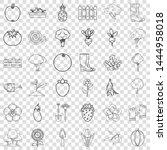 wheelbarrow icons set. outline... | Shutterstock .eps vector #1444958018