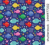 seamless vector pattern with... | Shutterstock .eps vector #1444977332