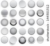 set of blank grey round buttons ...