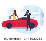 businessman with wife flat... | Shutterstock .eps vector #1445023268