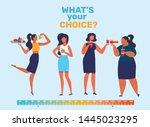 girls food preferences flat... | Shutterstock .eps vector #1445023295