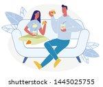 tasty dinner at home flat... | Shutterstock .eps vector #1445025755