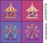 Set Of Colorful Amusement Park...