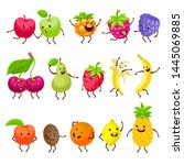 funny fruits with faces set....   Shutterstock .eps vector #1445069885