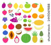 fresh juicy healthy fruits set... | Shutterstock .eps vector #1445069888