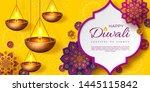 diwali festival of lights... | Shutterstock .eps vector #1445115842