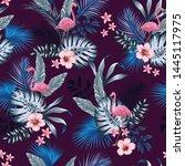 vector seamless tropical... | Shutterstock .eps vector #1445117975