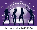 silhouettes of dancing girls... | Shutterstock . vector #14451334