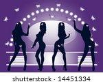 silhouettes of dancing girls... | Shutterstock . vector #14451334