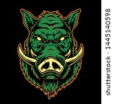 colorful serious boar head... | Shutterstock .eps vector #1445140598