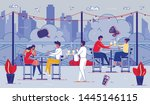 happy relaxed people sitting at ...   Shutterstock .eps vector #1445146115
