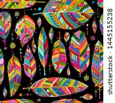 art feathers collection ... | Shutterstock .eps vector #1445155238