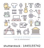arts and entertainment icon set.... | Shutterstock .eps vector #1445155742