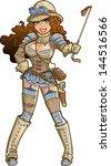 sexy female steampunk safari... | Shutterstock .eps vector #144516566