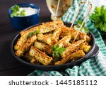 baked zucchini sticks with... | Shutterstock . vector #1445185112