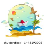 paper ship swimming in sea... | Shutterstock .eps vector #1445193008