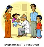 indian family visiting doctor's ... | Shutterstock .eps vector #144519905