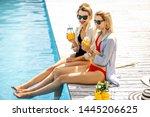 two girlfriends in swimwear and ...   Shutterstock . vector #1445206625