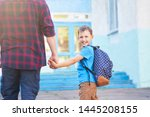 father accompanies the child to ...   Shutterstock . vector #1445208155