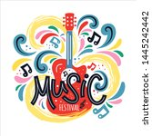 illustration with acoustic... | Shutterstock .eps vector #1445242442