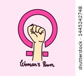women's power. women's rights.... | Shutterstock .eps vector #1445242748