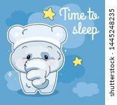 cute elephant kawaii character... | Shutterstock .eps vector #1445248235