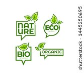 doodle organic leaves emblems ... | Shutterstock .eps vector #1445250695