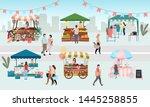 street fair flat vector... | Shutterstock .eps vector #1445258855