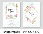 beautiful hand drawn soft roses ... | Shutterstock .eps vector #1445274572
