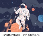 astronaut exploring outer space.... | Shutterstock .eps vector #1445304878